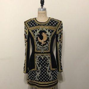 Balmain x H&M Black Gold Pearls Velvet Dress Rare
